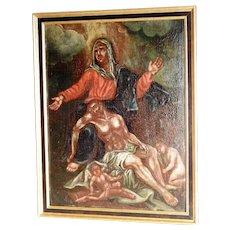 Pieta –Religious Painting Baroque 18th Century Flemish School