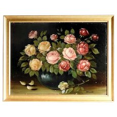 Amazing Still Life Artist Roses Bouquet Oil Painting Signed ca. 1920