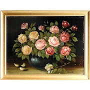 Amazing Roses Bouquet Oil Painting Still Life Artist Signed