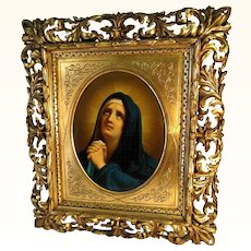 19th Century Painting Praying Virgin Hand Carved Wooden Frame