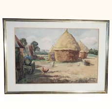 Lovely Water Color Farm Artist Signed
