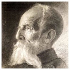 19th Century Fantastic Portrait Drawing of an Old Gentleman