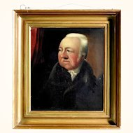 19th Century Gentleman Portrait Oil on Oak Panel