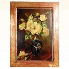 Charming Yellow Roses Still Life Art Deco Period