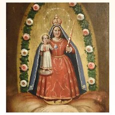 19th Century Folk Art Painting Virgin Mary