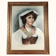 19th Century Young Woman Italian Water Color Artist Signed