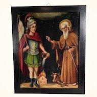 Religious Painting Saint Florian and Saint Leonard of LImoges Folk Art