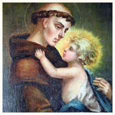 19th Century Touching Painting Saint Anthony of Padua and Infant Jesus
