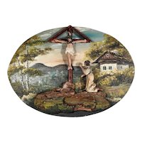 Landscape Painting with Hand Carved Wayside Cross Folk Art Diorama