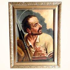 Saint Thomas the Apostle Excellent Religious Painting Late 18th Century