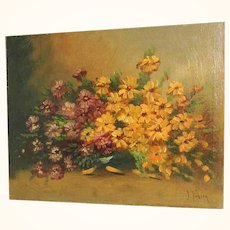 Delightful Still Life Aster Bouquet Artist Signed ca. 1920