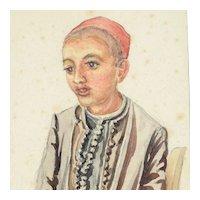 Water Color Sad Young Boy ca. 1880