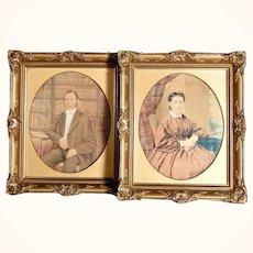 Romantic Period Excellent Pair Ancestor Portraits Water Color