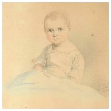 Watercolor Portrait of a Baby Signed and Dated 1839