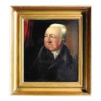 19C British Gentleman Portrait Oil on Oak Panel