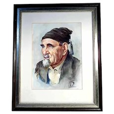 Nice Portrait Man with Fez Water Color