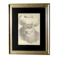 19C Excellent Orientalist Portrait of an old Man Drawing