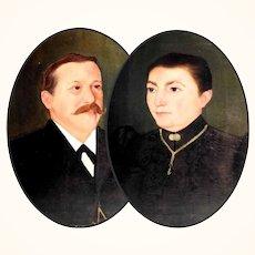 Pair of Ancestor Portraits ca. 1880/1900