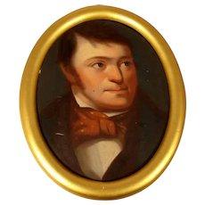 Portrait Young Man ca. 1850 Oil on Oak Panel