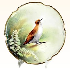 Delicate Porcelain Wall Plate Limoges France Game Bird Hand Painted & Signed