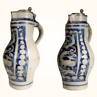Stunning German Stoneware Flagon Handmade about 1850