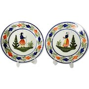 Pair of Matching French Faience Plates Manufactory Quimper