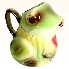 Unusual Juice Pitcher Frog Shape St. Clement Manufactory