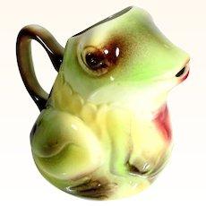Unusual Juice Pitcher Frog Shape St. Clement Manufactory
