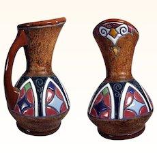 Pitcher Geometric Design Manufactory Amphora  Czechoslovakia ca. 1920