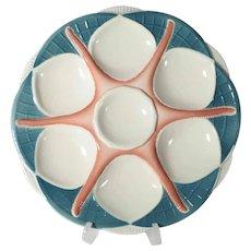 Beautiful Majolica Oyster Plate Starfish Pattern Sarreguemines