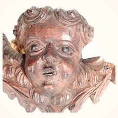 Hand Carved  Altar Fragment Putty Head Lime Tree