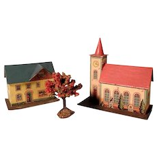Church and House Putz Houses and Apple Tree