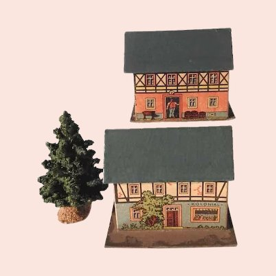 Two House Putz Houses and Fir Tree for Doll Village