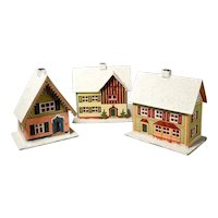 Three Putz Houses Cardboard Doll Village