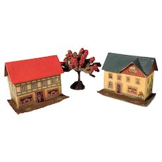 Two House Putz Houses and Apple Tree for Doll Village