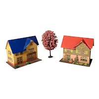 Two Putz Houses Lithographed Board Doll Village