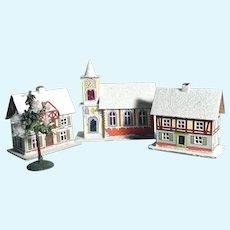 Three Putz Houses Christmas Display Doll Village
