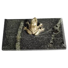 19C Paperweight Marble and Bronze Frog