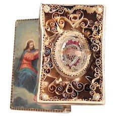 Very Rare Monastery Work Relic Paperolle Agnus Dei