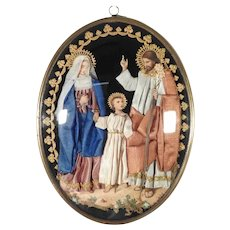 19C Amazing Old Reliquary Holy Family