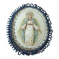 Reliquary Virgin Mary Glass Beads Frame
