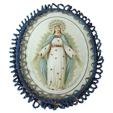 Reliquary Virgin Mary Glass Beads Frame