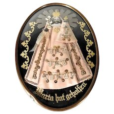 19th Century German  Reliquary Virgin Mary and Jesus Devotional