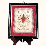 19th Century French Religious Embroidery Sacred Heart of Jesus Instruments of Passion