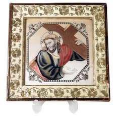 Stunning Religious Silk Embroidery Way of  Cross Jesus Accepts his Cross ca. 1850/70