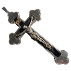 Pectoral Botonny Cross Nun Metal and Wood Inlay