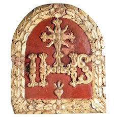 Stunning 18th Century German Tabernacle Door Religious Hand Carved Rare!
