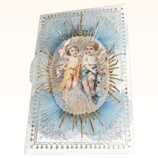 19th Century Lovely Net Lace Work Baptismal Letter for Twins