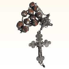 Rare 19th Century Single-Decade German Rosary Hand Carved Box Tree Beads