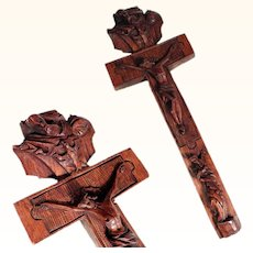 Rare German Folk Art Reliquary Cross Relics Trinity Mater Dolorosa Hand Carved